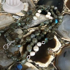 "Tara Mesa 42"" Labradorite and Pearl necklace"